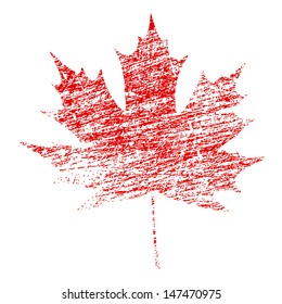 Red maple leaf in abstract grunge painted texture. EPS10 vector illustration.