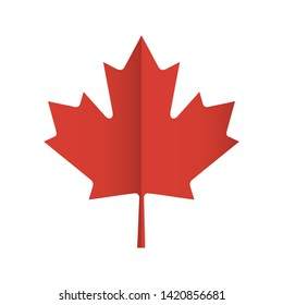 Red maple leaf Canadian symbol. Vector icon