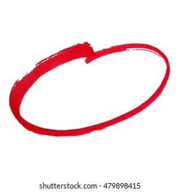 Red marker pen highlighter circle. Vector illustration