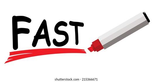 red marker underlining word fast