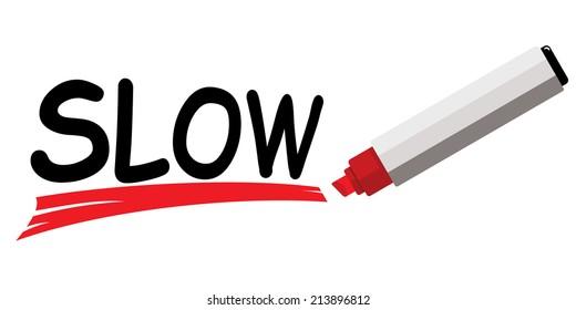 red marker underlining word slow