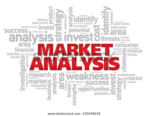 Red Market Analysis concept vector word cloud
