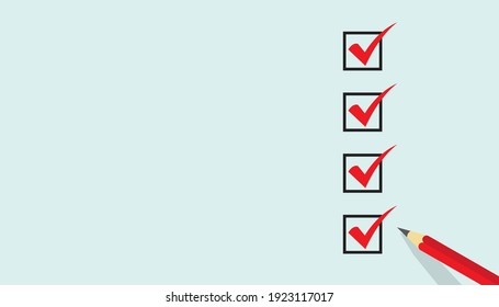 Red marking on checklist box, Checklist concept, copy space, business presentation background. EPS vector illustration.