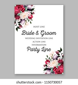 Red marsala white rose wedding invitation Vector floral bridal bouquet wording sample text