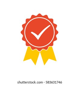 Red medal icon with yellow ribbons and check mark. Vector illustration.
