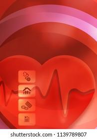 Red medical background abstract - concept health care or medicine technology. Vector Illustration EPS 10, Graphic Design elements vertical banner, flyer dental service, presentation template brochure