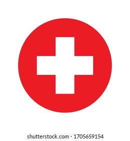 Red medical cross. Vector icon.