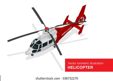Red medical evacuation helicopter. Vector isometric illustration