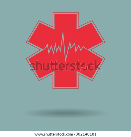 Red Medical Symbol Emergency Star Life Stock Vector Royalty Free