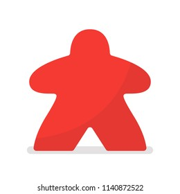 Red meeple vector illustration. Symbol of family board games
