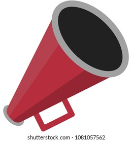 Red Megaphone Illustration - Red megaphone in flat design isolated on white background