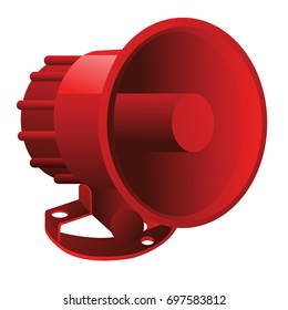 Red Megaphone Isolated On A White Background Means Of Alert Or Emergency And Enhance