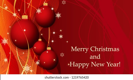 Red Merry Christmas and Happy New Year background with Christmas decoration, ribbons, snowflakes and stars. Greeting card and Ecard vector banner invitation