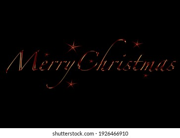Red Merry Christmas Lettering Black Background Red Stars Holiday Card Design Printable Poster Vector Illustration