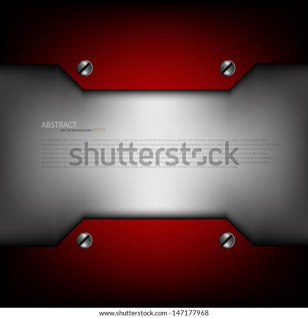 Red Metal Background Text Message Design Stock Vector (Royalty Free