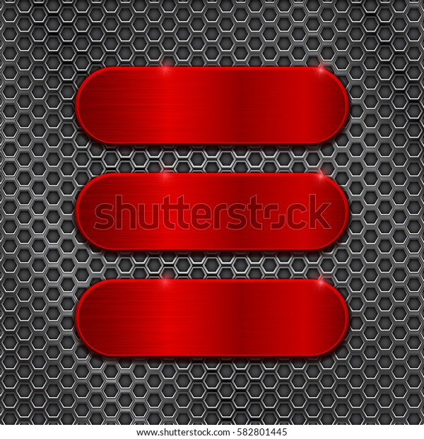 Red metal brushed plates on perforated background. Vector 3d illustration.