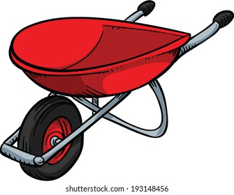 A red, metal cartoon wheelbarrow.