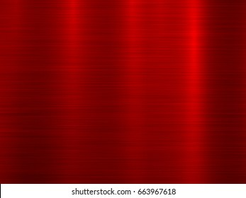 Red metal technology horizontal background with polished, brushed texture. Vector illustration.