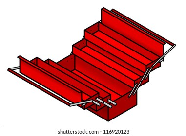 A red metal toolbox shown opened to reveal drawers and compartments.