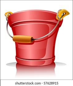 red metallic bucket vector illustration