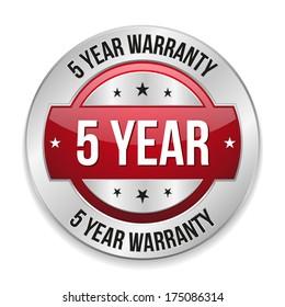 Red metallic five year warranty button