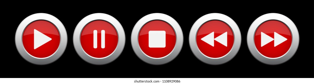 red metallic music control buttons set - five icons in front of a black background