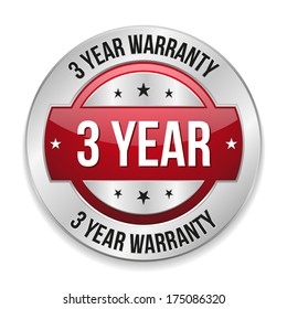 Red metallic three year warranty button