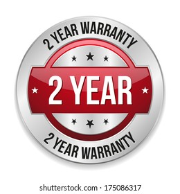 Red metallic two year warranty button