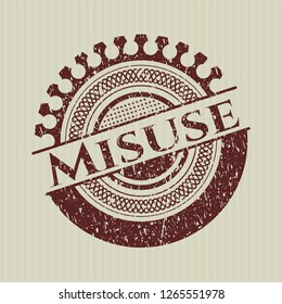 Red Misuse distress rubber stamp