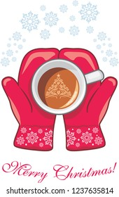 Red mittens with a coffee cup. Vector