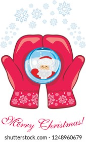 Red mittens with a glass ball. Christmas postcard. Vector