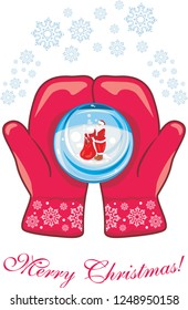 Red mittens with a glass ball. Vector