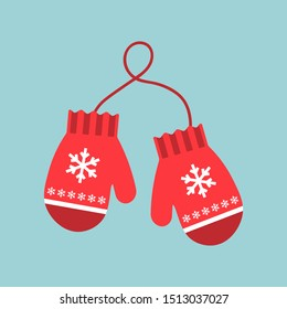 Red mittens. Snowflakes on mittens. Vector illustration. Flat design for business financial marketing banking advertising web concept cartoon illustration.