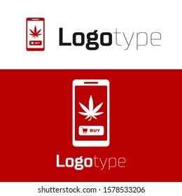 Red Mobile phone and medical marijuana or cannabis leaf icon isolated on white background. Online buying symbol. Supermarket basket. Logo design template element. Vector Illustration