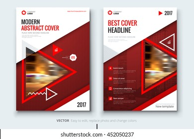 Red modern Brochure design. Corporate business template for report, catalog, magazine. Layout with triangle photo and abstract triangle shapes. Creative leaflet, poster, flyer or banner concept