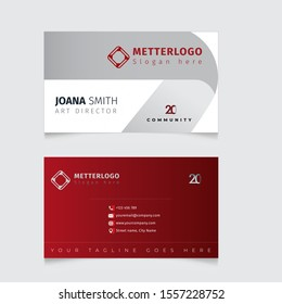 Red modern creative business card and name card,horizontal simple clean template vector design, layout in rectangle size - Vector