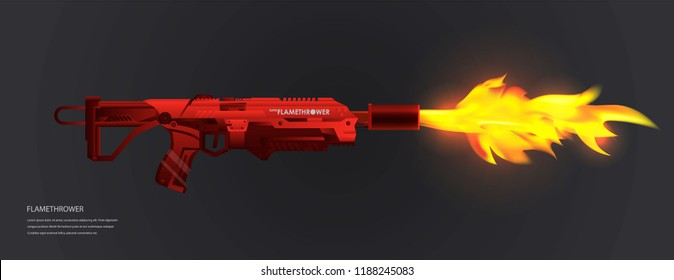 Red modern flamethrower on a dark background. Realistic flame. Template with futuristic weapons.