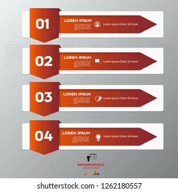 Red Modern infographic arrows. Vector design template of 4 options, steps, parts.