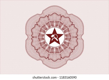 Red money style emblem or rosette with communism icon inside