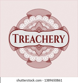 Red money style emblem or rosette with text Treachery inside