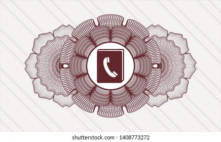 Red money style emblem or rosette with phonebook icon inside