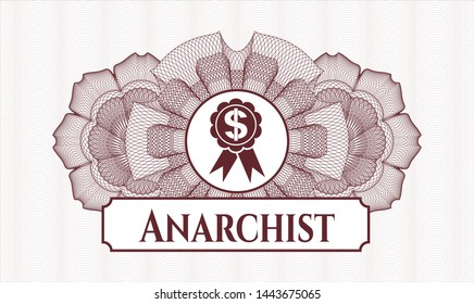 Red money style emblem or rosette with business ribbon icon and Anarchist text inside