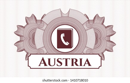 Red money style rosette with phonebook icon and Austria text inside