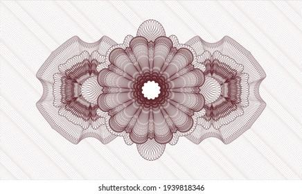Red money style rosette. Vector Illustration. Detailed
