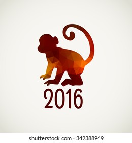 Red monkey. Symbol of 2016 on the Chinese calendar. Vector low poly design.