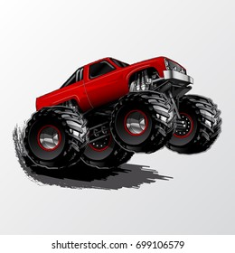 Red Monster Truck with Aggressive Set-Up