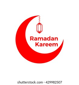 "Red moon and arabic lamp on white background. Muslim holiday. Vector illustration. ""Ramadan Kareem"" means generous month of Ramadan."