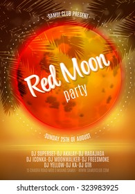 Red Moon Beach Party Flyer. Vector Design EPS 10