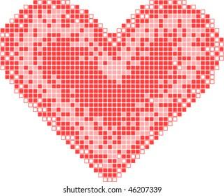 red mosaic heart vector card