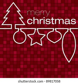 Red mosaic line Christmas card in vector format.
